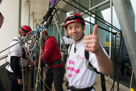 Adam gets ready for the abseil