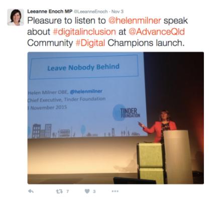 Tweet from Leanne Enoch (November 2015)